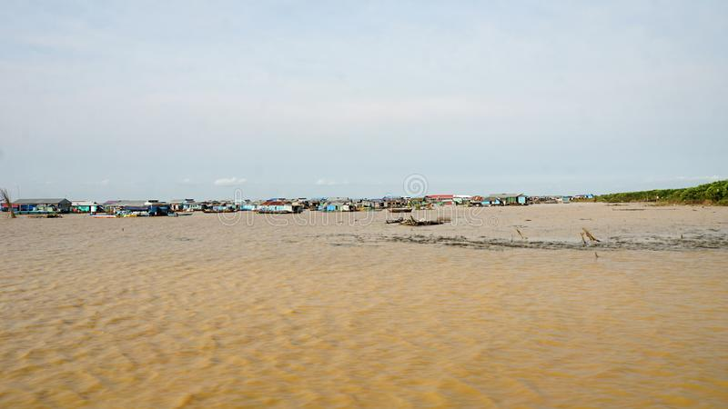 Tonle sap flaoting village. Traditional floating village on tonle sap lake in cambodia stock photography