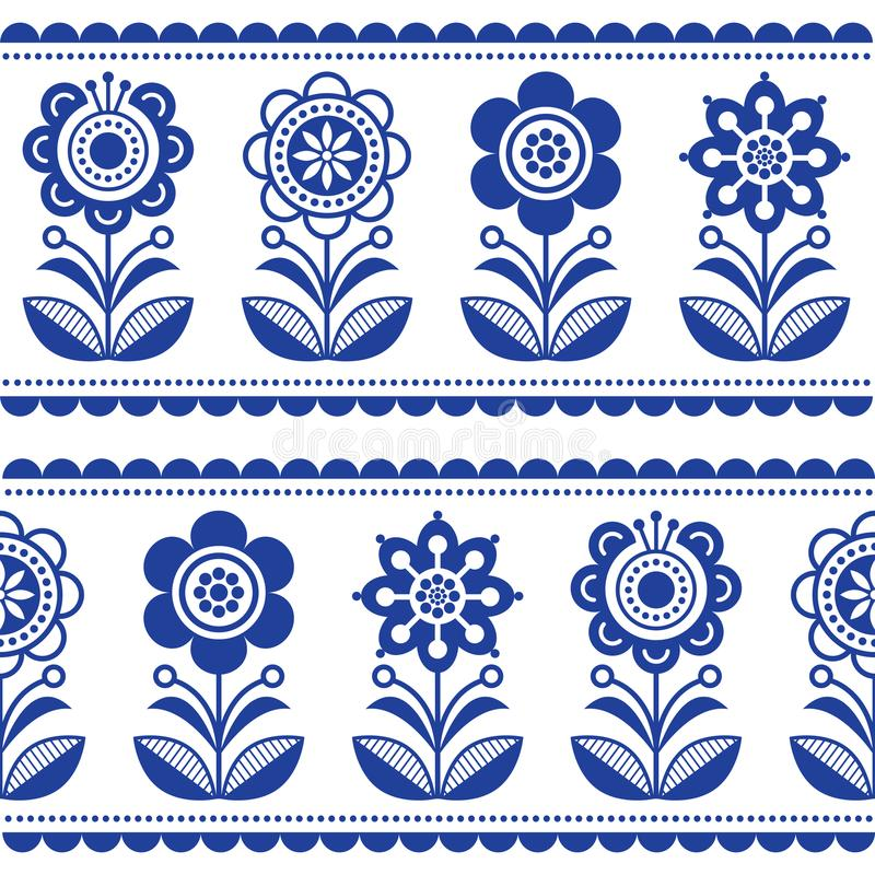 Scandinavian Seamless Folk Art Vector Pattern With Flowers And
