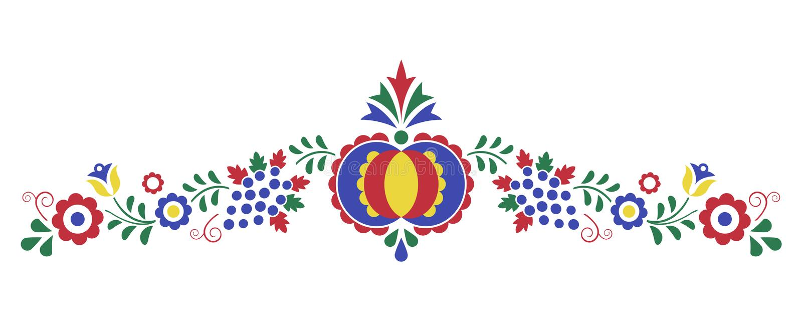 Traditional folk ornament, the Moravian ornament. From region Slovacko, floral embroidery symbol isolated on white background, vector illustration stock illustration