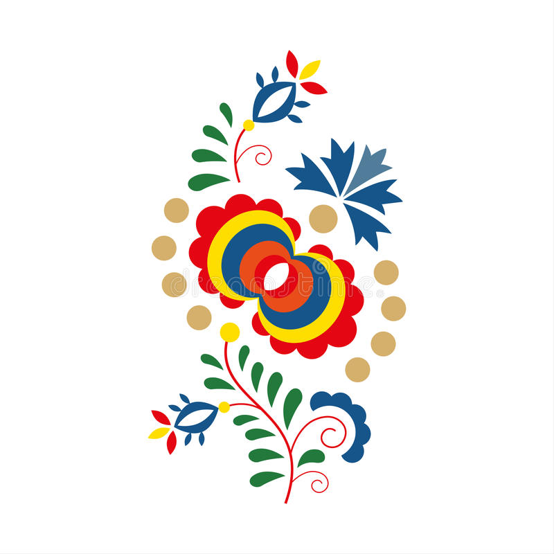 Traditional folk ornament and pattern, floral embroidery symbol royalty free illustration