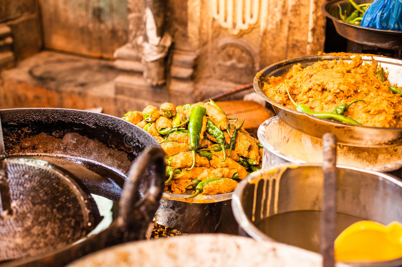 TRaditional food market in India. stock photos
