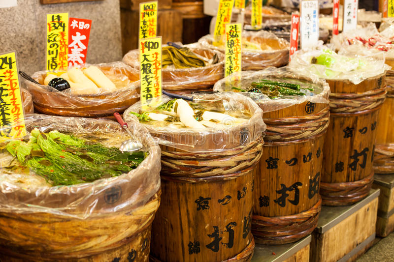 Traditional food market in Japan. royalty free stock image