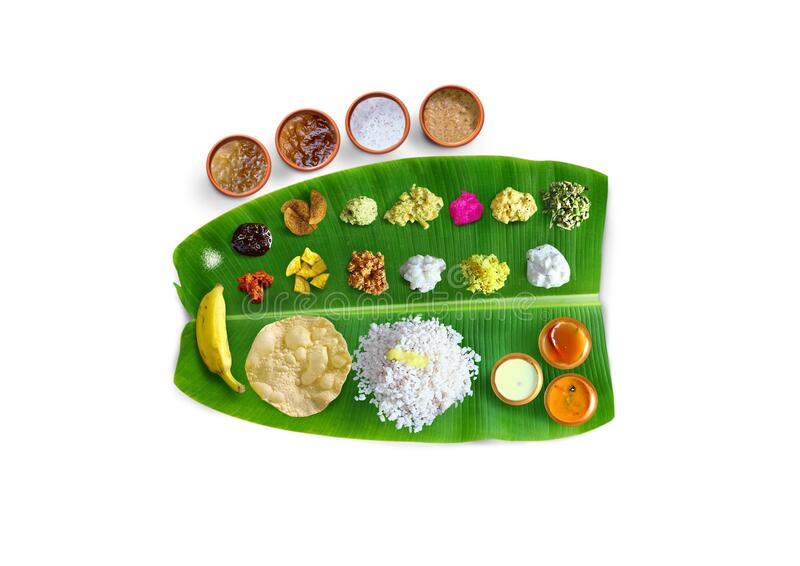 Traditional food Onam Sadya served on a banana leaf on Festival day onam,  Vegetarian meal with rice and curries, kerala food, Ker. Ala, india royalty free stock images