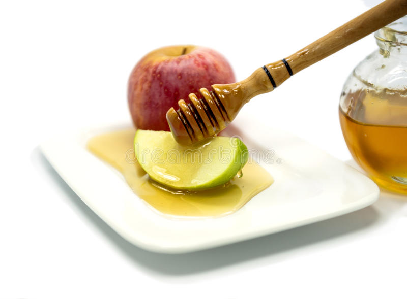 Traditional food for Rosh Hashanah - Jewish New Year stock image