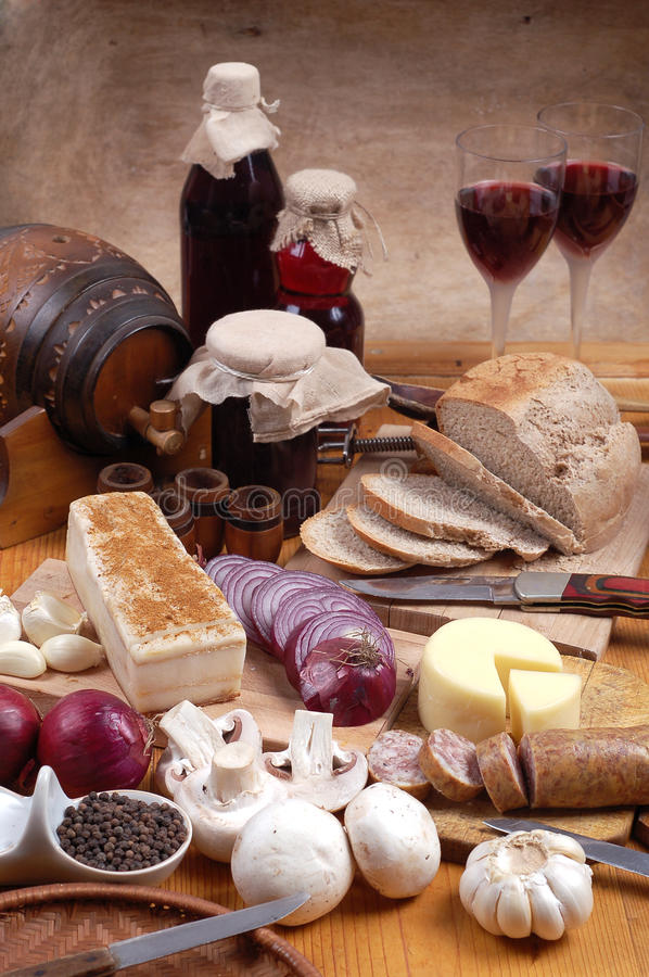 Traditional food and wine stock photo