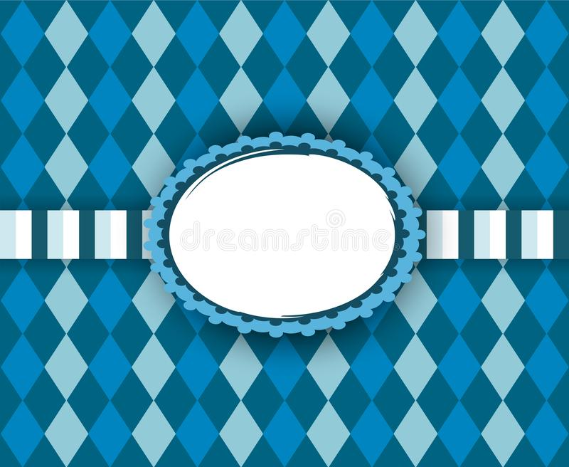 Traditional frame with copy space for Oktoberfest. Vector background design with bavarian white and blue pattern vector illustration