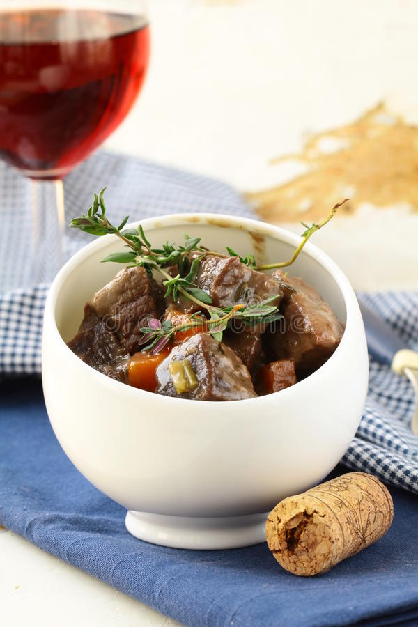 Traditional french beef goula. Boeuf bourguignon - Traditional french beef goulash royalty free stock photo