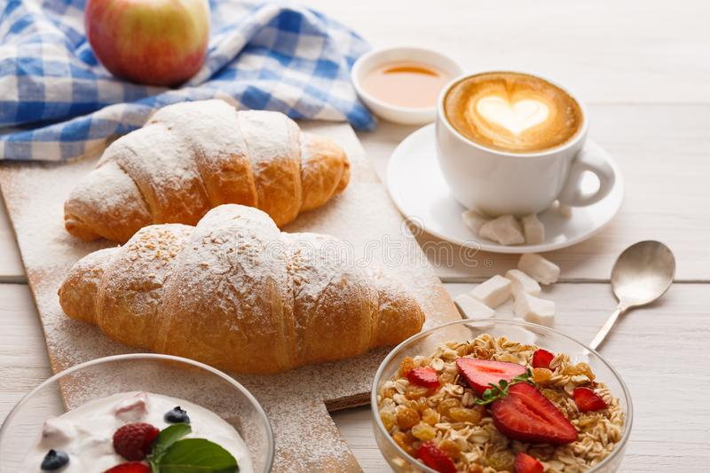 Traditional french breakfast menu closeup royalty free stock images