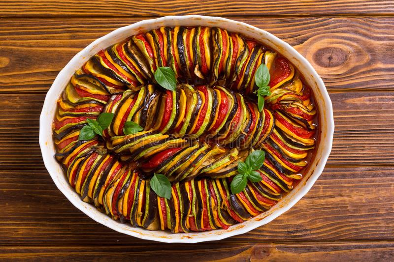 Traditional French cooked provencal vegetable dish - Ratatouille. Food background stock photography