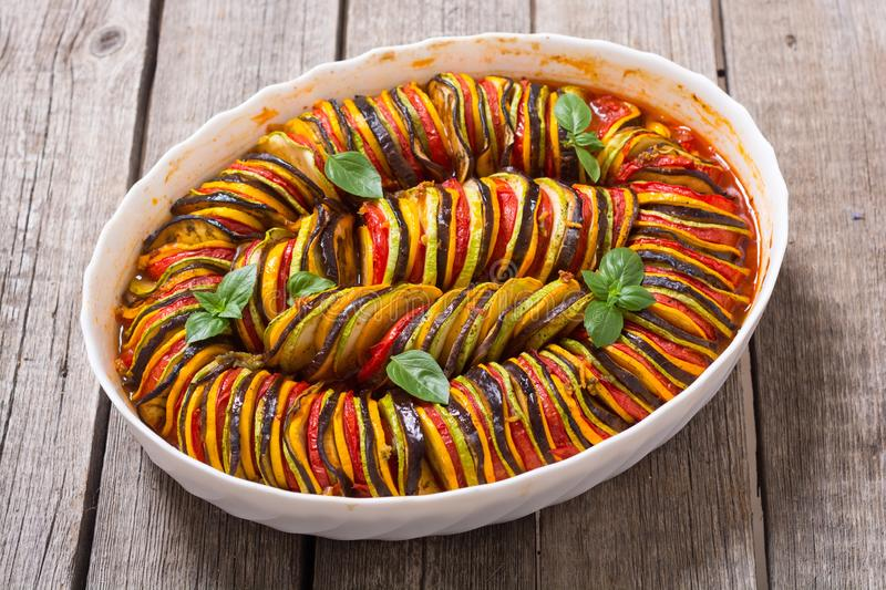 Traditional French cooked provencal vegetable dish - Ratatouille royalty free stock images