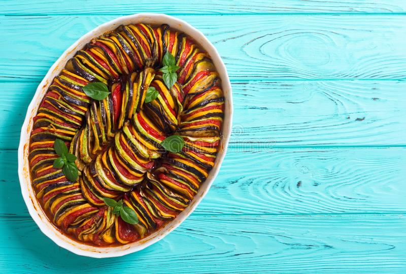 Traditional French cooked provencal vegetable dish - Ratatouille. Food background stock image
