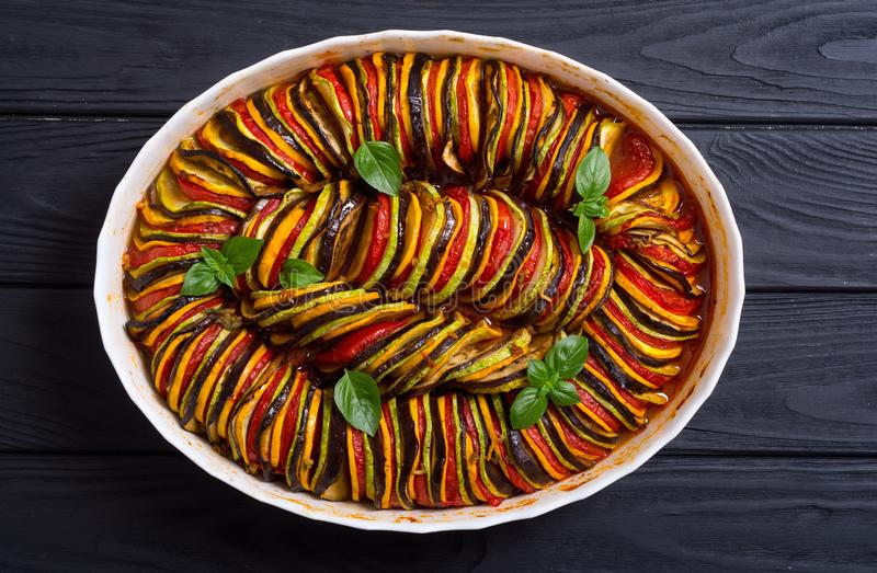 Traditional French cooked provencal vegetable dish - Ratatouille. Food background royalty free stock photography