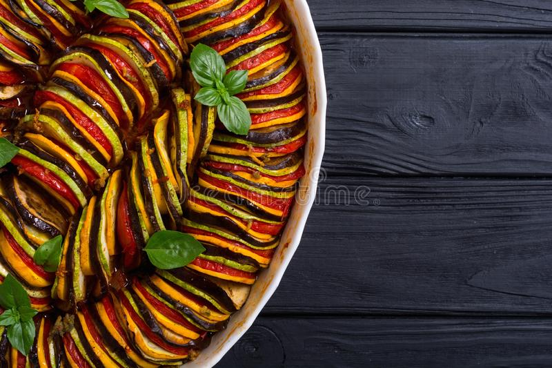 Traditional French cooked provencal vegetable dish - Ratatouille. Food background royalty free stock images