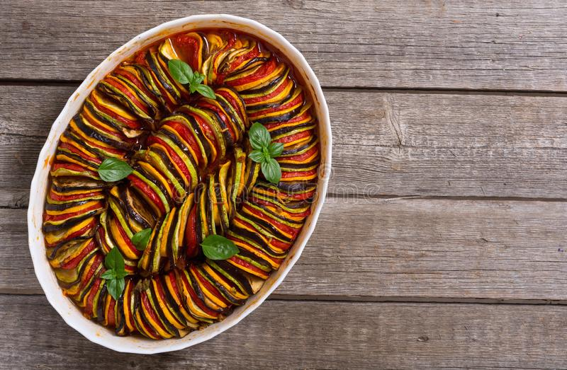 Traditional French cooked provencal vegetable dish - Ratatouille. Food background stock images