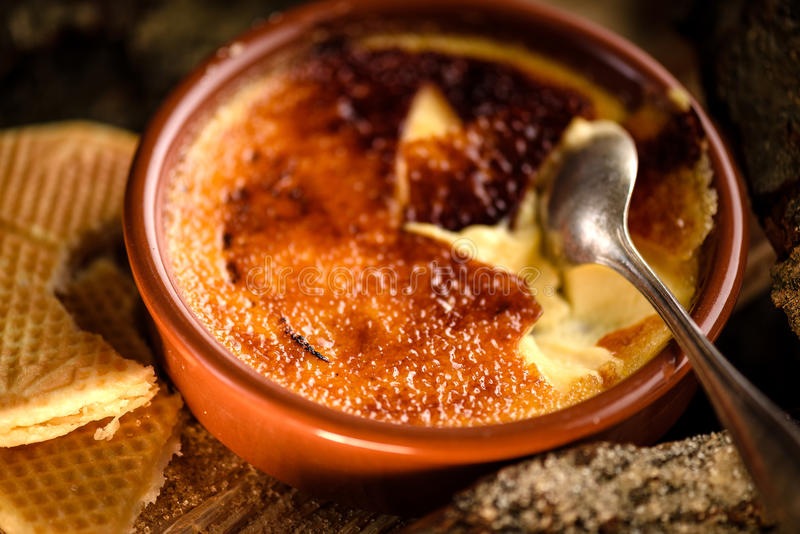Traditional french creme brulee dessert stock images
