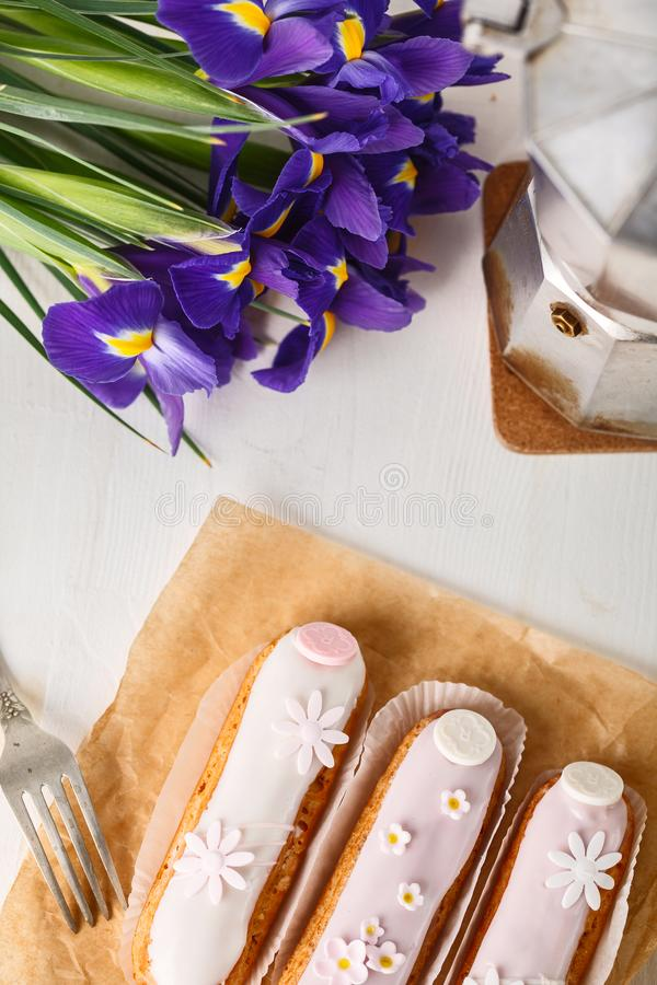 Traditional French eclairs with coffee. Good Breakfast stock image
