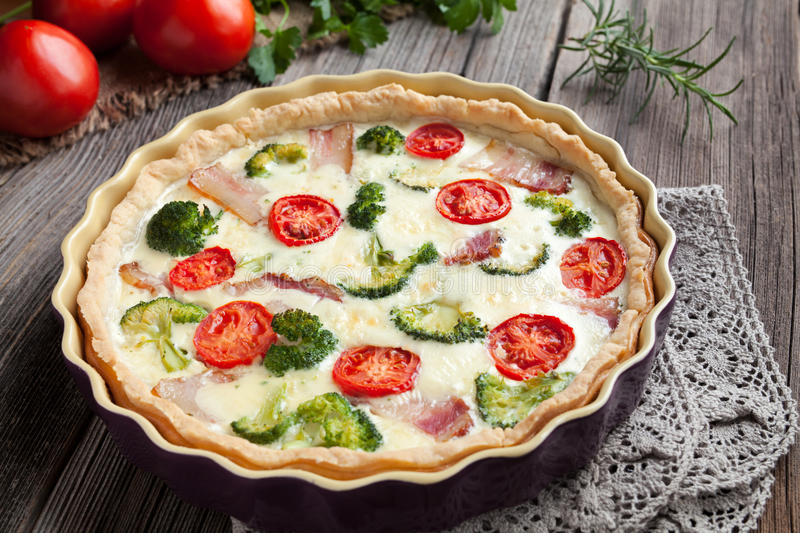 Traditional french homemade quiche lorraine tart royalty free stock image