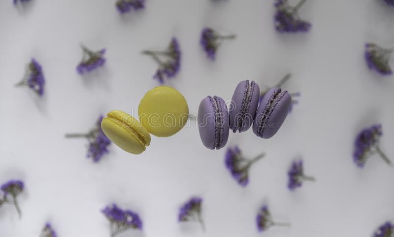 Traditional French purple, yellow macaroons on a flower background stock photography