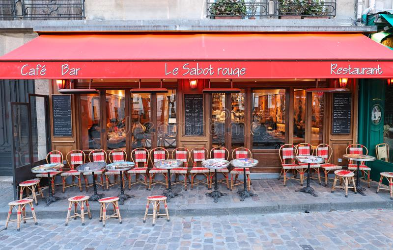 The traditional French restaurant Le Sabot Rouge located in Montmartre in 18 district of Paris, France. stock images