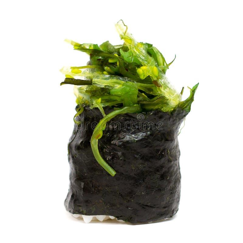 Traditional fresh japanese sushi rolls on a white. Background royalty free stock image
