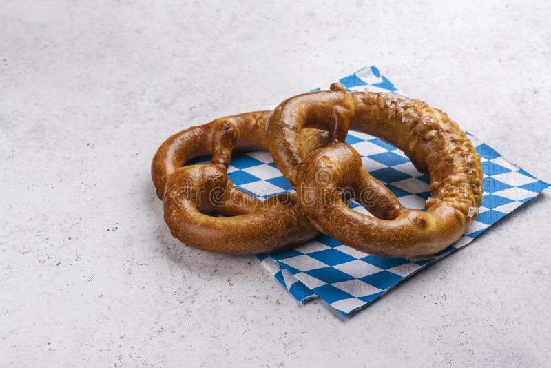 Bavarian salted pretzels stock photo