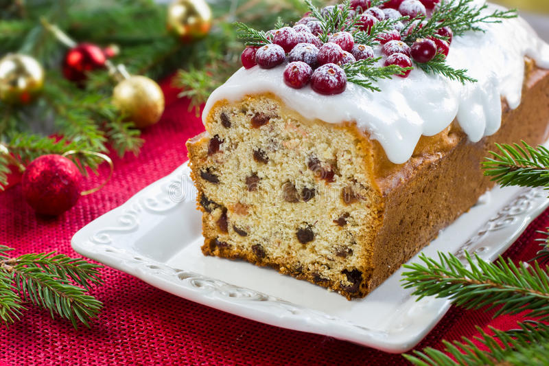 Traditional fruitcake for Christmas stock images
