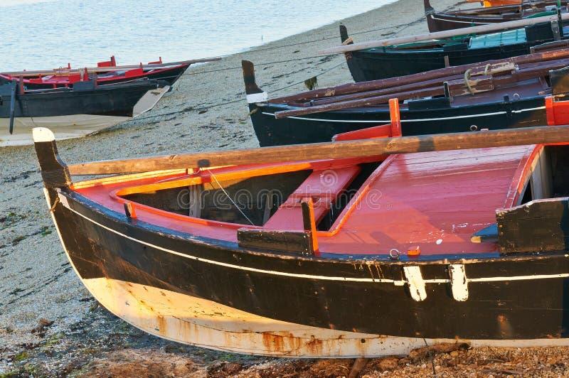 Traditional Galician fishing boats royalty free stock photo