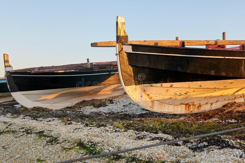 Traditional Galician fishing boats stock photos