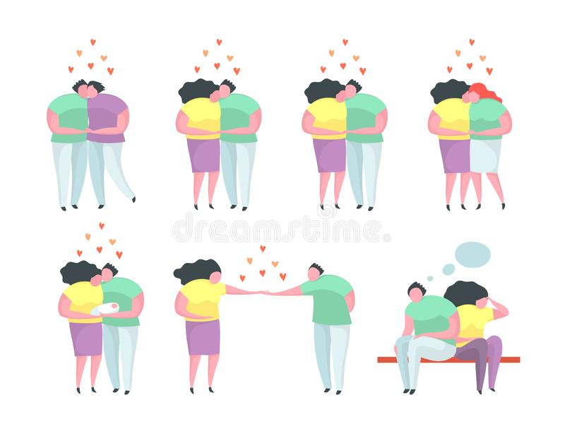 Traditional and Gay and Lesbian Couples relationship man and woman. Different relationship dating people characters, hugs, kisses, proposal, gay and lesbian royalty free illustration