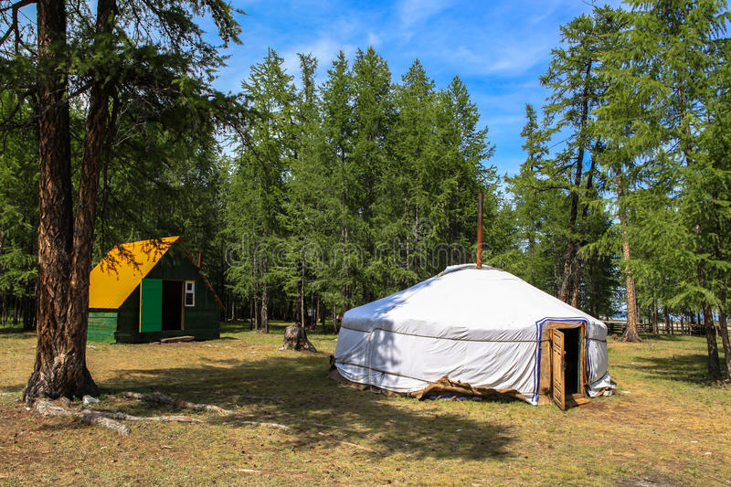 A traditional ger in Mongolia. A traditional yurt (from Turkic) or ger (Mongolian) is a portable, round tent covered with skins or felt used as a dwelling by royalty free stock image