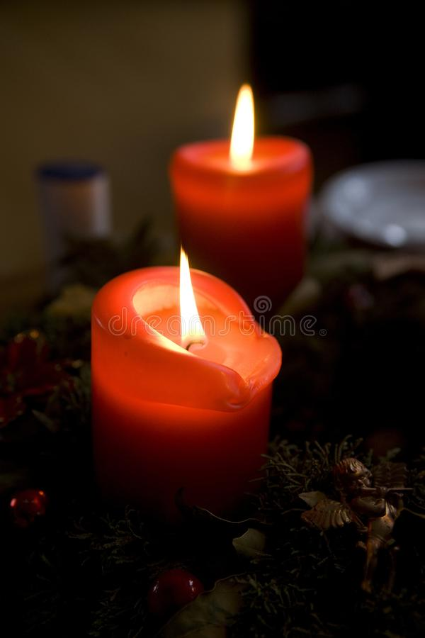 Traditional German advent candle on a table - Munich, Germany - December 2009 royalty free stock images
