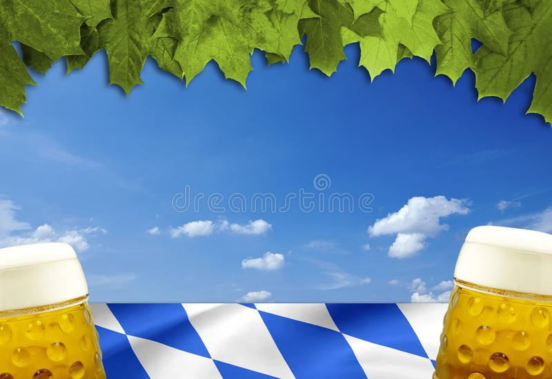 Traditional german bavarian festival Oktoberfest with pretzels, beer and gingerbread heart royalty free stock image