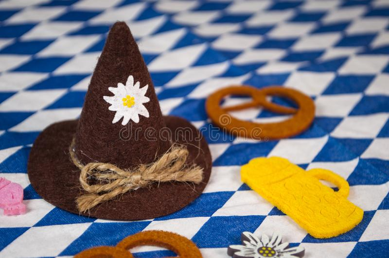 Traditional german bavarian festival Oktoberfest with pretzels, beer and gingerbread heart stock image