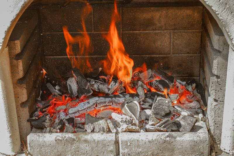 Traditional German grilling fireplace for Christmas time, German royalty free stock photo