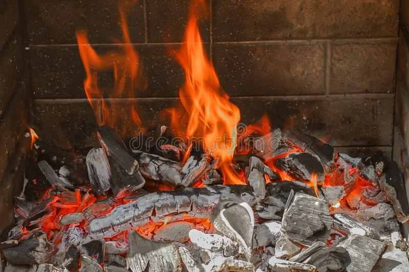 Traditional German grilling fireplace for Christmas time, German stock image