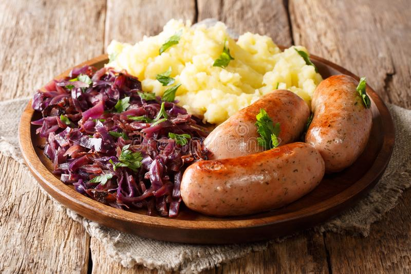 Traditional German Sausages with Mashed Potato and Sauerkraut. W stock image