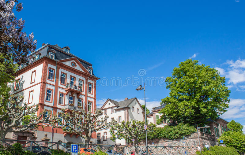 Traditional German Street in Frankfurt Hoechst royalty free stock photography