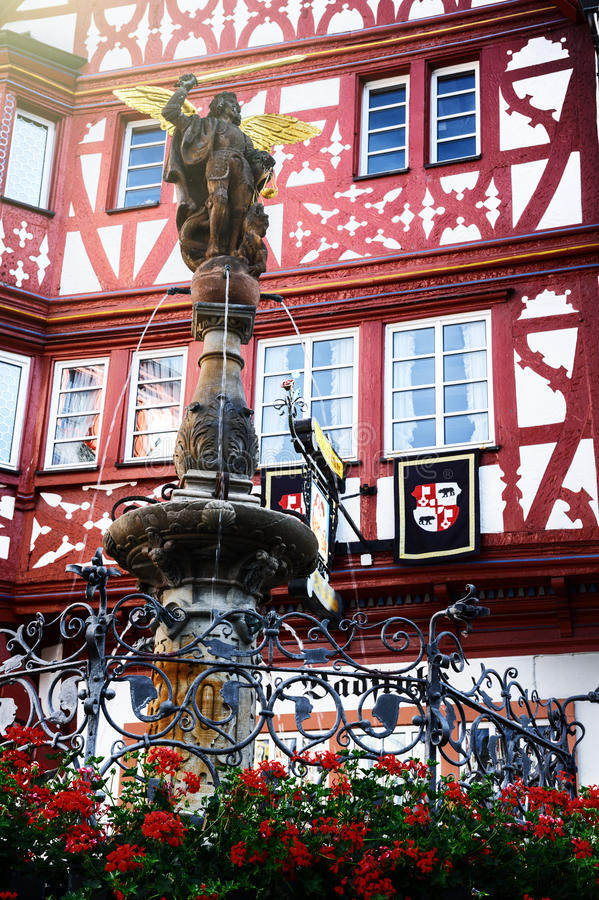 Traditional German timber frame house in Bernkastel-Kues. Traditional German timber frame house in the market place of Bernkastel-Kues royalty free stock photography