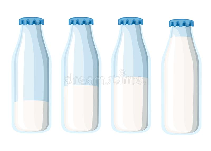 Traditional glass milk bottle. Four milk bottles template. Flat vector illustration isolated on white background.  royalty free illustration