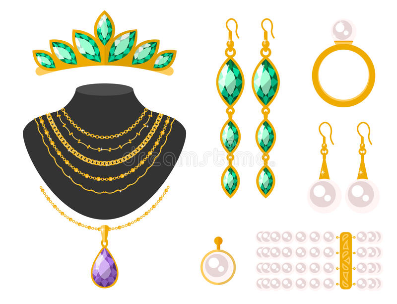 Traditional golden jewellery bangles diamond luxury fine minute precious gold jewelery vector illustration. Traditional golden jewellery bangles diamond luxury vector illustration