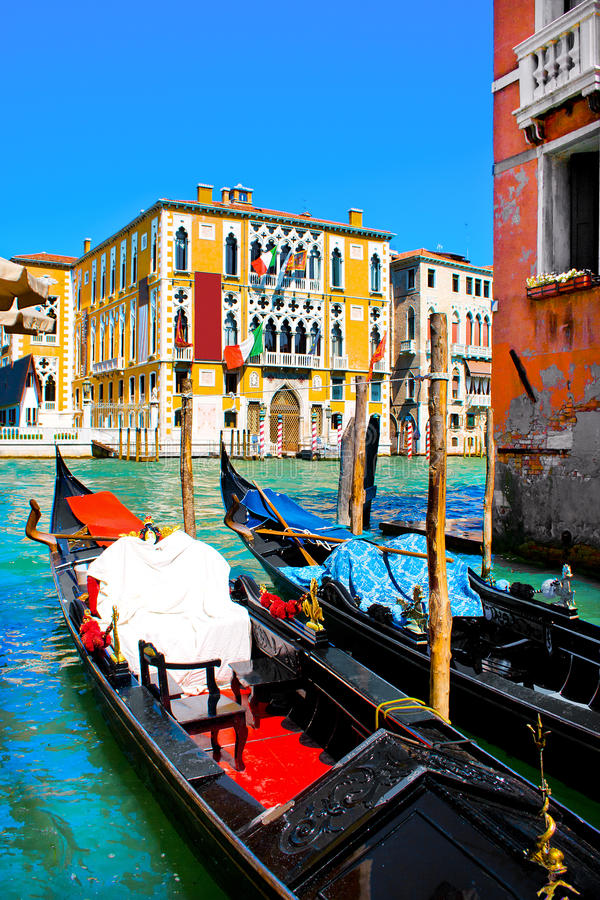 Traditional Gondolas at Canal Grande in Venice, Italy stock photos
