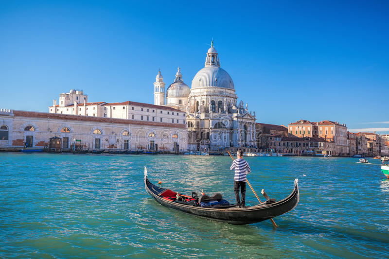 Traditional Gondolas on Grand Canal in Venice, Italy royalty free stock photography