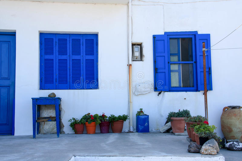 Traditional Greece landscape. Beautiful white and blue houses and narrow streets stock photography