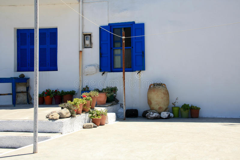 Traditional Greece landscape. Beautiful white and blue houses and narrow streets stock images