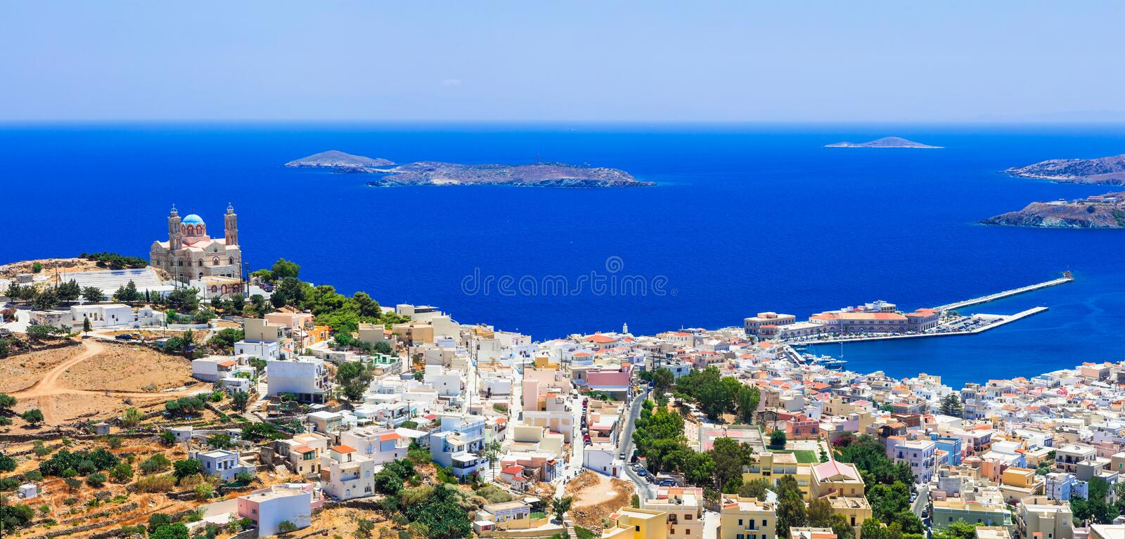 Traditional Greece series - Syros island, capital of Cyclades royalty free stock images