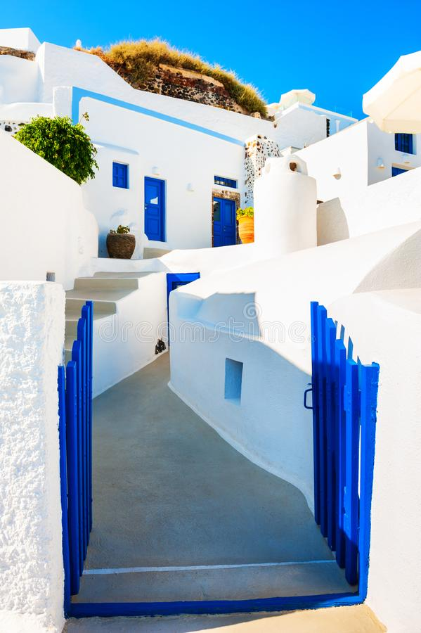 Traditional greek architecture on Santorini island, Greece stock photo