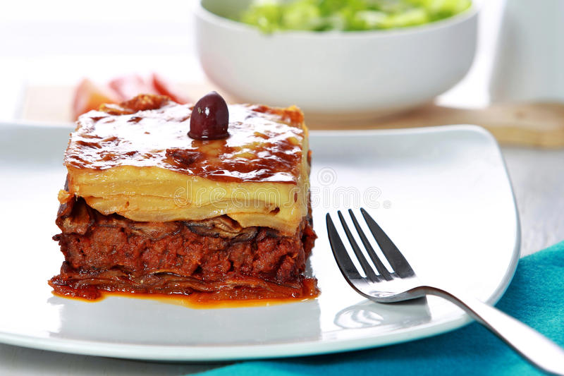 Traditional Greek beef Moussaka royalty free stock photos