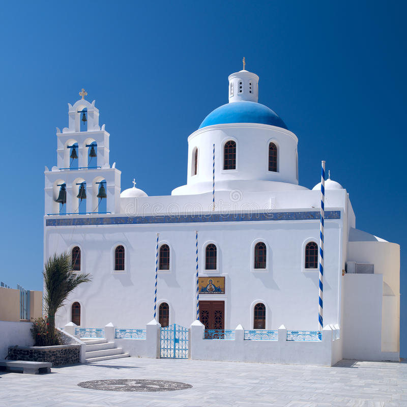 Traditional Greek church with bells royalty free stock image