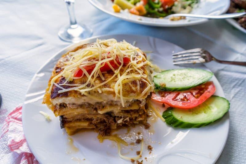 Traditional greek dish mousaka. Crete island, Greece stock images