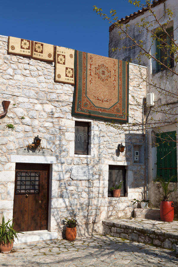 Traditional Greek House At Mani Stock Photo